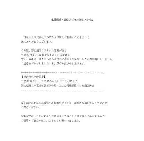 電話回線・通信アクセス障害のお詫び